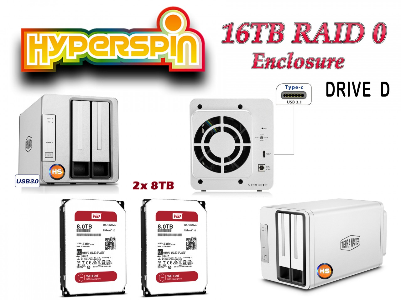 16TB Preconfigured Hyperspin Hard Drive External RAID 0 Enclosure