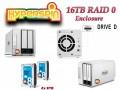 16TB Preconfigured Hyperspin Hard Drive External RAID 0 Enclosure TerraMaster D2-310 Seagate Drive